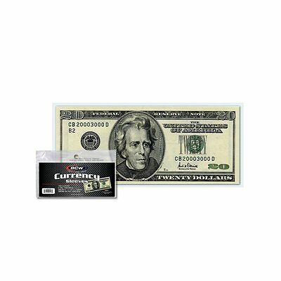 100 BCW Currency Sleeves for Regular Sized Bills -Fits up to 6 1/4 x 2 5/8 Notes