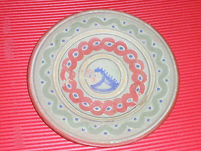 Vintage Mexican Clay / Ceramic / Pottery Hand Painted  Decorative Plate