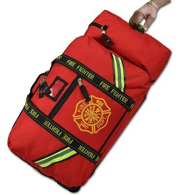 Lightning X Rolling Firefighter Turnout Gear Bag w/ Helmet Compartment Red