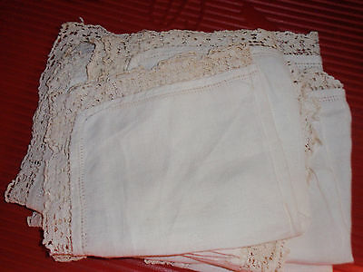 6 Antique Linen And Lace Napkins / Handkerchiefs