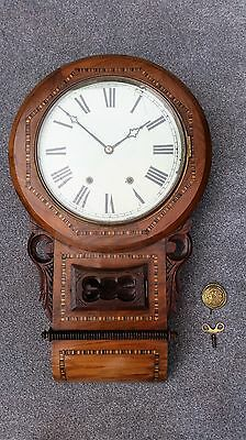 Antique Mahogany American Drop Dial Clock With An Ansonia Chiming Movement