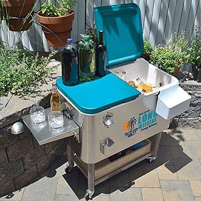 Tommy Bahama 94.6 Litres Stainless Steel Rolling Cool Box Party Cooler