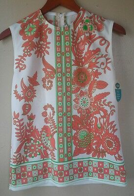 NWT Vtg 60's mod white green orange floral bright top blouse M sleeveless tunic