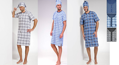 Mens Night Shirt Cap Set Nightshirt Nightwear Sleepwear Cotton M L XL 2 3 4 5XL