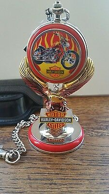 Harley Davidson Billy Bike Pocket Watch New with Stand & Leather Pouch