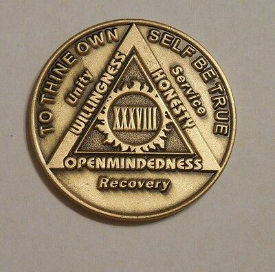 aa bronze alcoholics anonymous 38 year sobriety chip coin token medallion