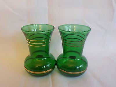 Vintage Pair Green Glass w/Gold Stripe Trim Vases Small 3 3/4""