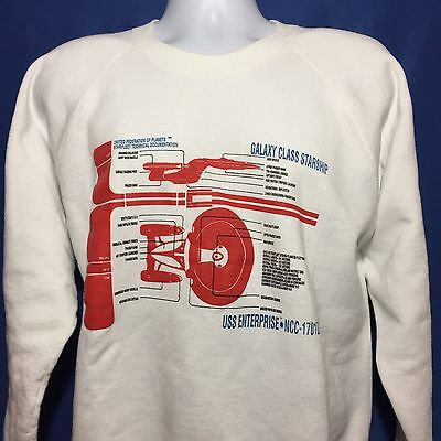 VTG 1992 Star Trek The Next Generation Sweatshirt Sweater TV Show Enterprise *L
