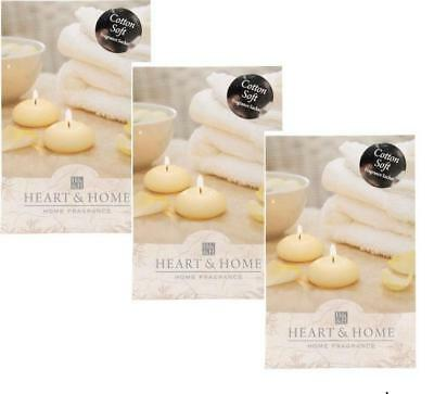 Pack of 3 Heart and Home Cotton Soft Large Fragrance Scented Sachet with Hanger