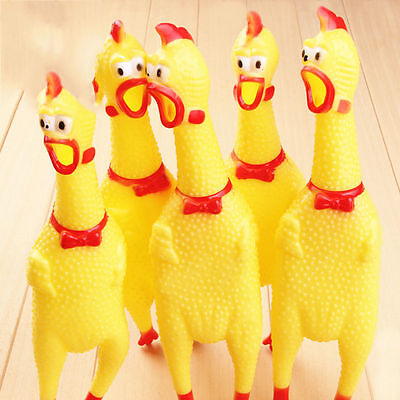 2 Pcs 17cm Shrilling Chicken Dog Screaming Squawking Fun Toy Rubber Squeez