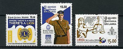 Sri Lanka 2016 MNH Lions Club International Police Lawasia 3v Set Stamps