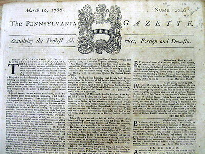 1768 PHILADELPHIA Pennsylvania Gazette COLONIAL AMERICAN newspaper BRITISH TAXES