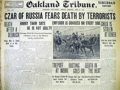 1906 hdlne newspaper CZAR NICHOLAS II of RUSSIA predicts his DEATH by TERRORISTS