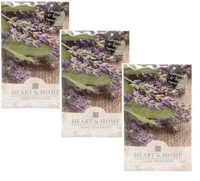 Pack of 3 Heart and Home Lavender & Sage Large Scented Sachet with Hanger