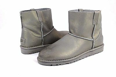 3a882a5f124 UGG CLASSIC UNLINED Mini Metallic Leather Boots Silver Color Size 9 Us