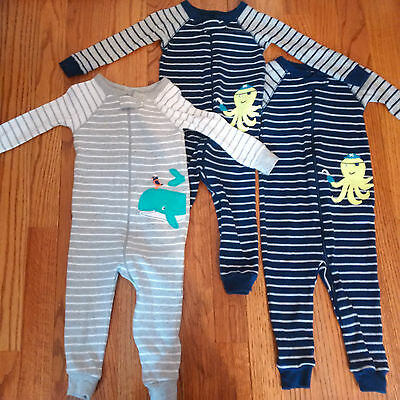 Lot of 3 Carters Baby Toddler Boy Footless One-Piece Pajamas Size 12 Months