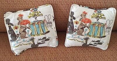 2 Vtg 50s Black Brown French Poodles Space Kitties Coral Teal Chartreuse Pillows