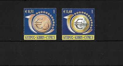 Cyprus 2009 10Th Anniversary Of The Euro, Mnh Pair
