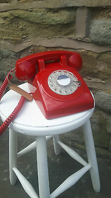 Vintage Retro Style Red Rotary Dial Telephone Home Phone Red GPO PROTELX 1970s