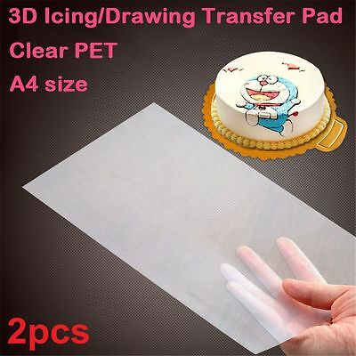 2 Pcs Cake Piping Decorating Transfer Paper 3D Icing Print Pad Hand Draw