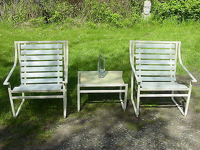 3 pcs vintage 1960s patio set chair and table Samsonite mid century modern