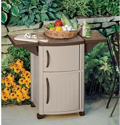 Portable Compact Serving Station Patio Cabinet Bar Cart Tray Outdoor Storage