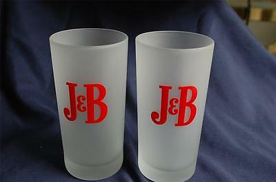 2 J & B Scotch Whiskey Frosted Hiball Tall Drink Cocktail Glasses NICE!!!