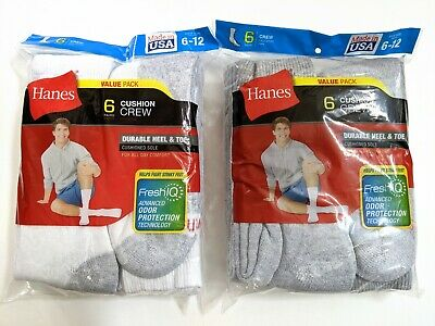 Hanes Mens Cushioned Crew Socks Shoe Size 6-12 Large Black White or Gray 6-Pair