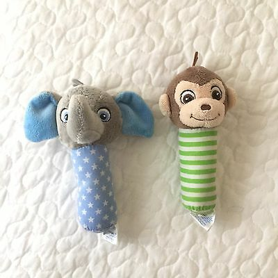Garanimals Baby Rattle Gray Elephant Stars Monkey Green Stripes Set 2 Plush Lot