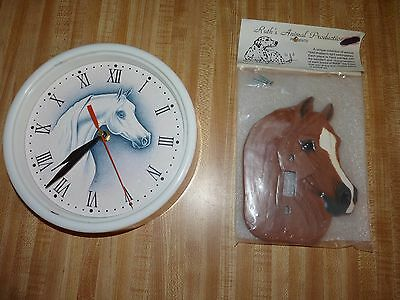 Arabian horse Home decor lot Ruth's Light Switchplate and battery op wall clock