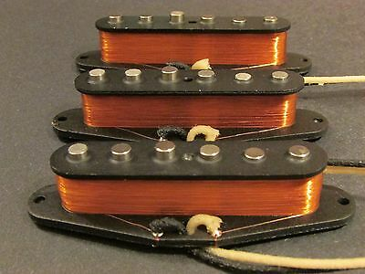Hand wound vintage '54 Stratocaster pickup set with free treble bleed kit