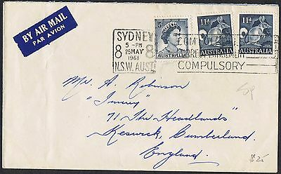 1961 11d Bandicoot x 2 + QEII 5d blue on 1961 airmail cover to the UK TS476