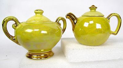 "Vintage 5"" Yellow Hand Painted Warranted 22K Gold Cream and Sugar Set"