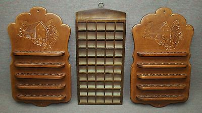 Three Wood Wall Hung Thimble Racks, Two Carved Mill Hold 30 each, Third Holds 50