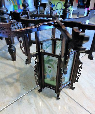 Early Vintage Top Quality Rosewood And Hand Painted Glass Lantern