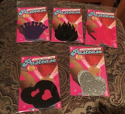 Pastease Self-Adhesive WP Pasties Nipple Covers Lot of 5 Star Fire Crown Heart