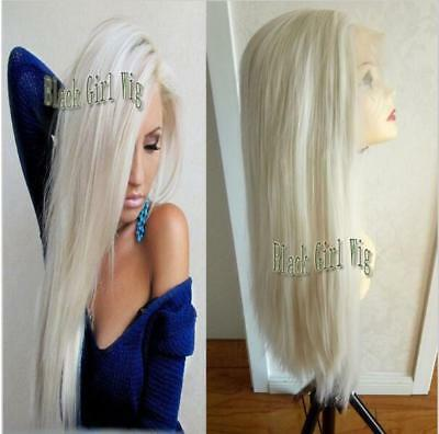 """10""""-26"""" Heat Resistant Lace Front Wig Synthetic Hair Straight White Blonde"""