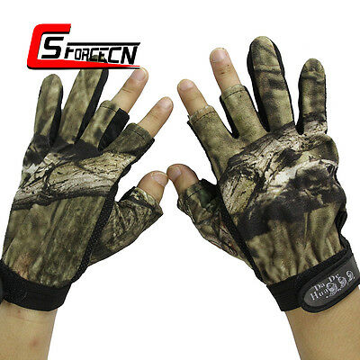Camouflage Hunting 3 Cut Fingers Outdoor Fishing Gloves Anti Slip Glove Camo