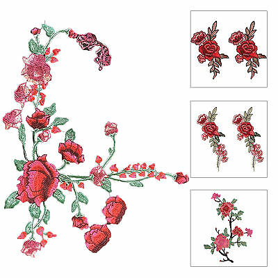 Red Rose Flower Sew on Embroidered Patch Badge Embroidery Applique Flora
