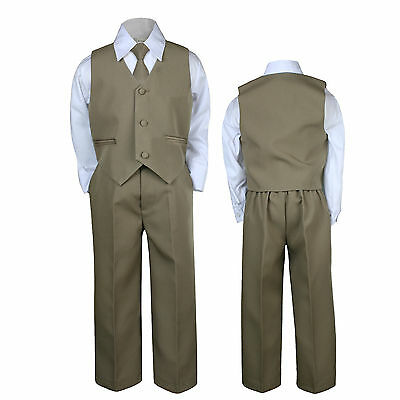 Dark Khaki Baby Boys Toddler Wedding Formal Party Necktie Sets Suits Outfits S-7