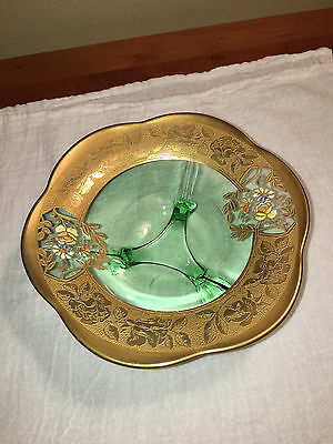Vintage Green Depression Vaseline Glass Dish on 3 Legs Wide Gold Border