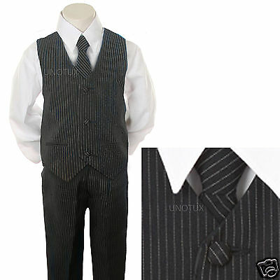 New Baby,Toddler & Boy Navy Pin Stripe Formal Vest Suit size: 2T 3T 4T 5 6 7
