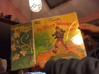 2 SEALED Walt Disney mid-50s LPs SPRING & THE HAPPY WANDERER Early STEREO!! Look