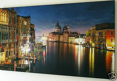 """Venice At Night Canvas Wall Art  Picture Large 18"""" X 32""""  Ready To Hang"""