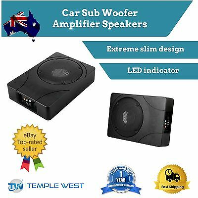 Car Sub Woofer Amplifier 500W Speakers Inbuilt Amp Cables Slim Enclosure Audio