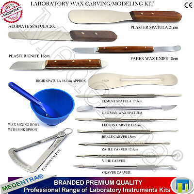 Dental Wax Carving Tools Waxing Instrument Kits Spatulas- Carvers- Knives Mixing