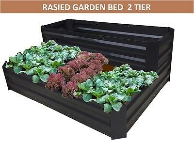 Black Raised Garden Bed 2 Tiers- 120 x 90 x 45cm