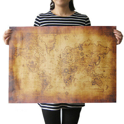 New Large Vintage Style Retro Paper Poster Globe Old World Map Gifts 50 x 70cm