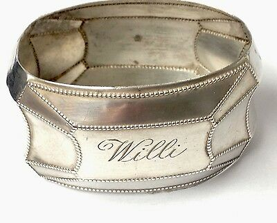 """Antique Silver Shaped Oval Engraved Napkin Ring """" WILLI """""""