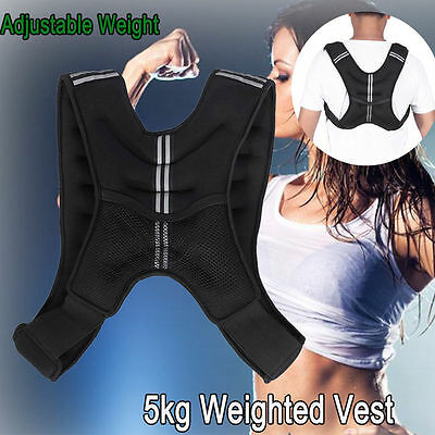 5KG Weighted Vest Weight Exercise Running Training Jacket w/ Reflective Strips